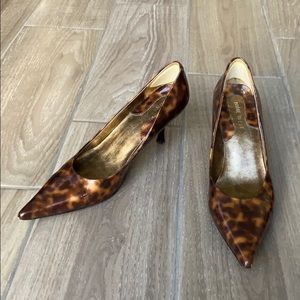 Nine West Leopard Pointed Toe Kitten Heels